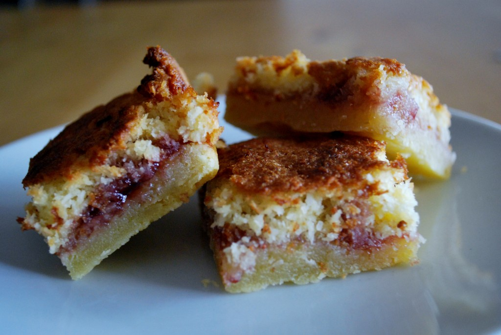 Coconut and Raspberry Jam Slice