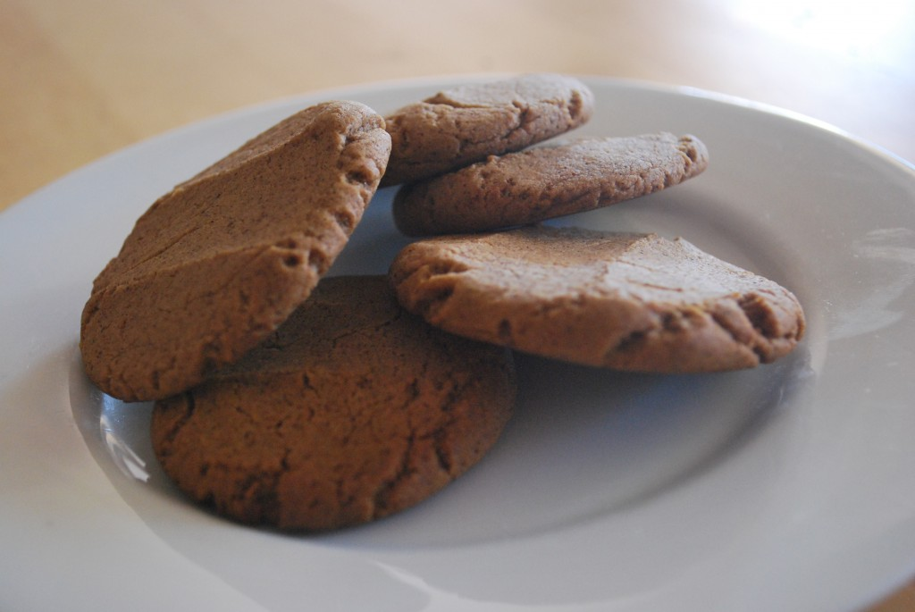 Ginger biscuits on a plate.